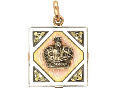 15ct Gold & Platinum, Russian Imperial Crown Pendant