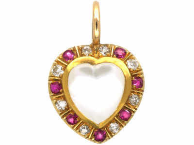 Edwardian 15ct Gold Pendant set with a Heart Shaped Moonstone, Rubies & Diamonds