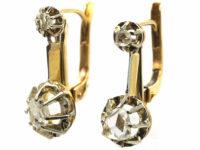 Dutch 18ct Gold & Rose Diamond Drop Earrings
