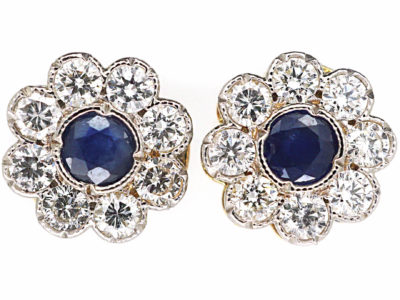 Edwardian 18ct Gold & Platinum, Sapphire & Diamond Cluster Earrings