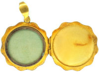 Art Nouveau 15ct Gold Locket of a Lady with Flowers