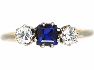 Edwardian 18ct Sapphire & Diamond Three Stone Ring