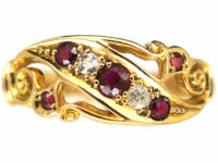 Edwardian 18ct Gold, Ruby & Diamond Crossover Ring