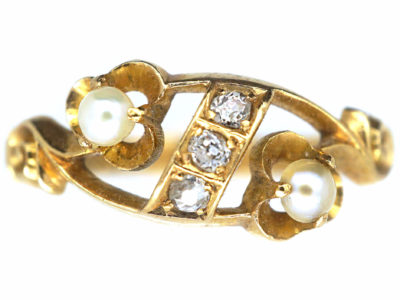 Edwardian 18ct Gold Natural Pearl & Diamond Ring