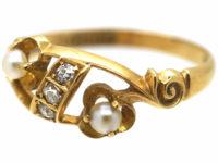 Edwardian 18ct Gold Natural Pearl & Diamond Ring