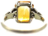 Art Deco 18ct White Gold & Platinum, Madeira Citrine & Diamond Ring