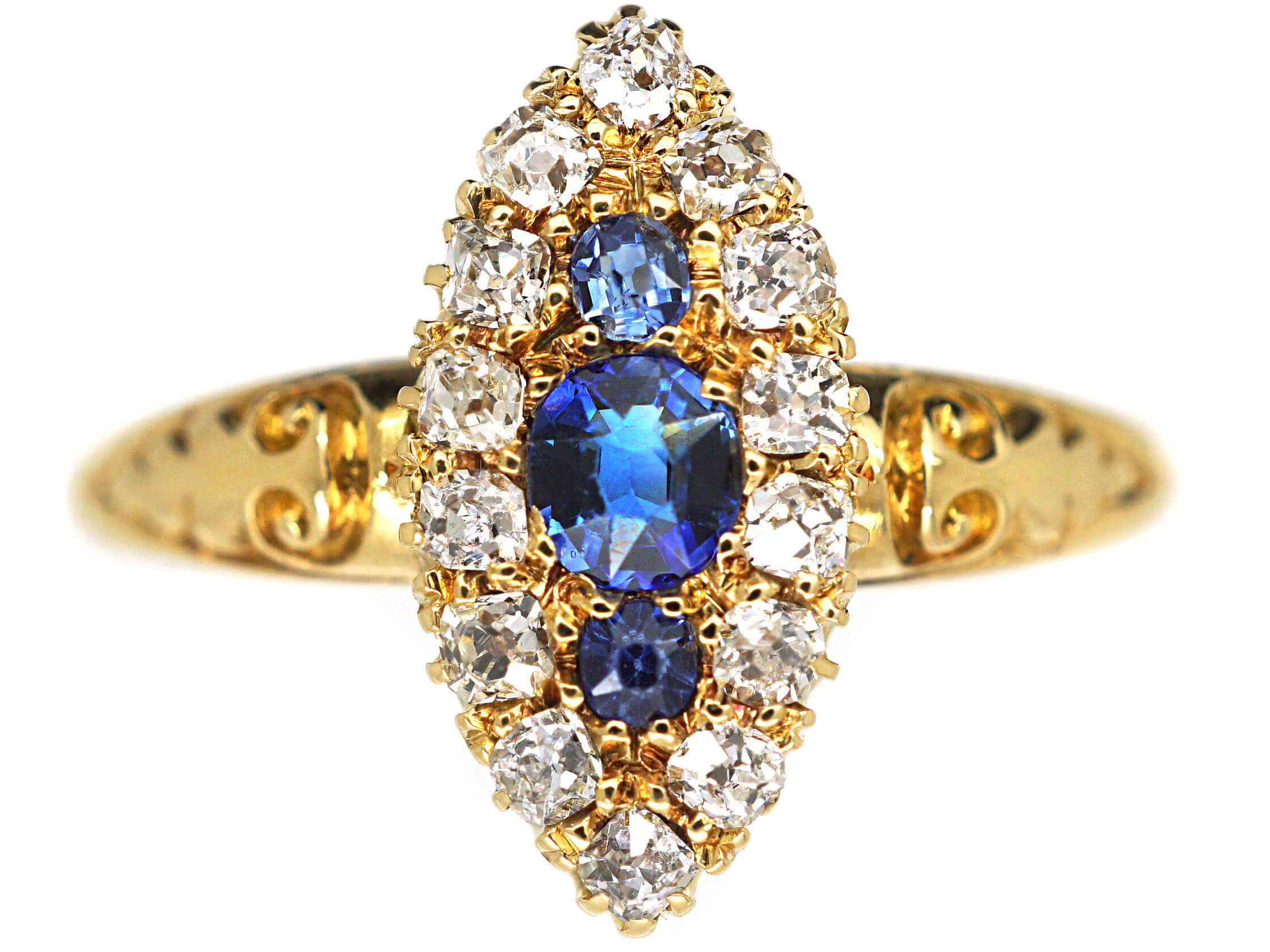 Victorian 18ct Gold Sapphire & Diamond Marquise Shaped Ring