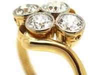 Edwardian 18ct Gold Four Stone Diamond Crossover Ring