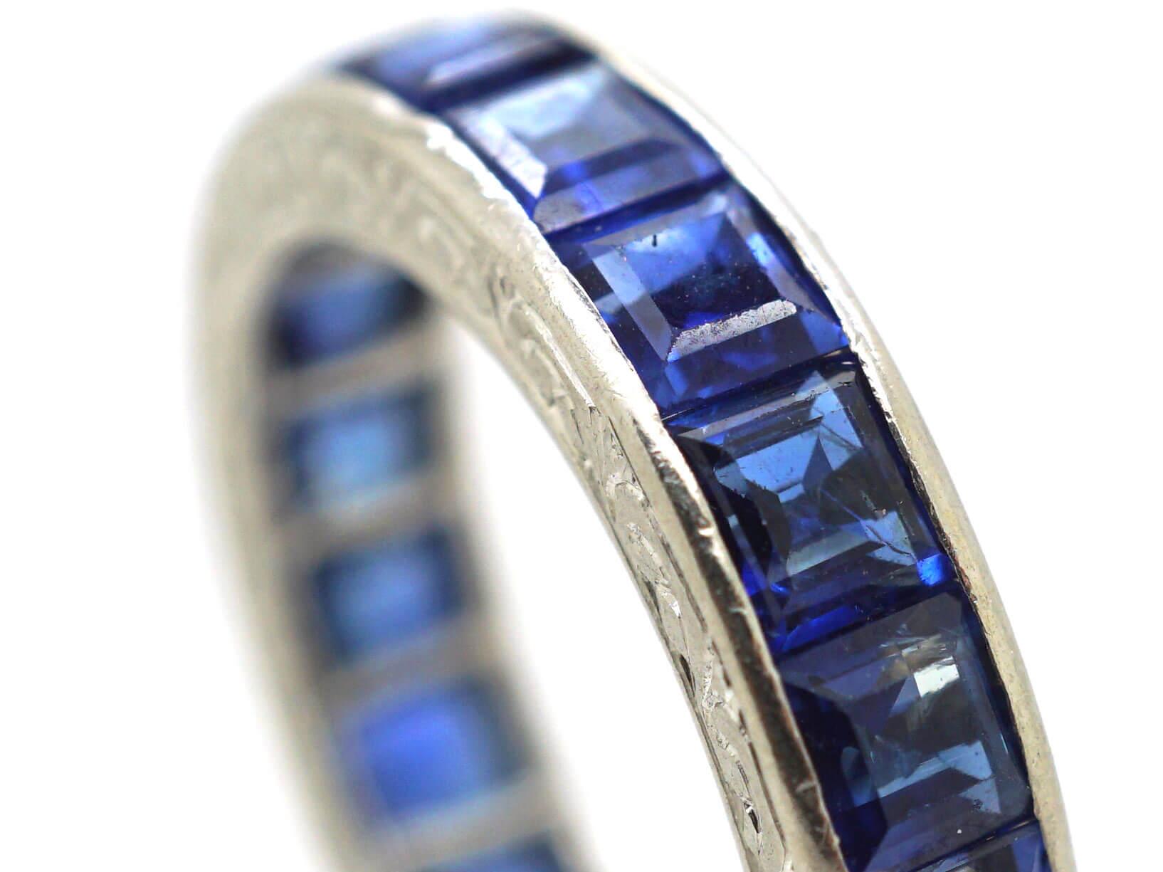 Art Deco Platinum & Sapphire Eternity Ring