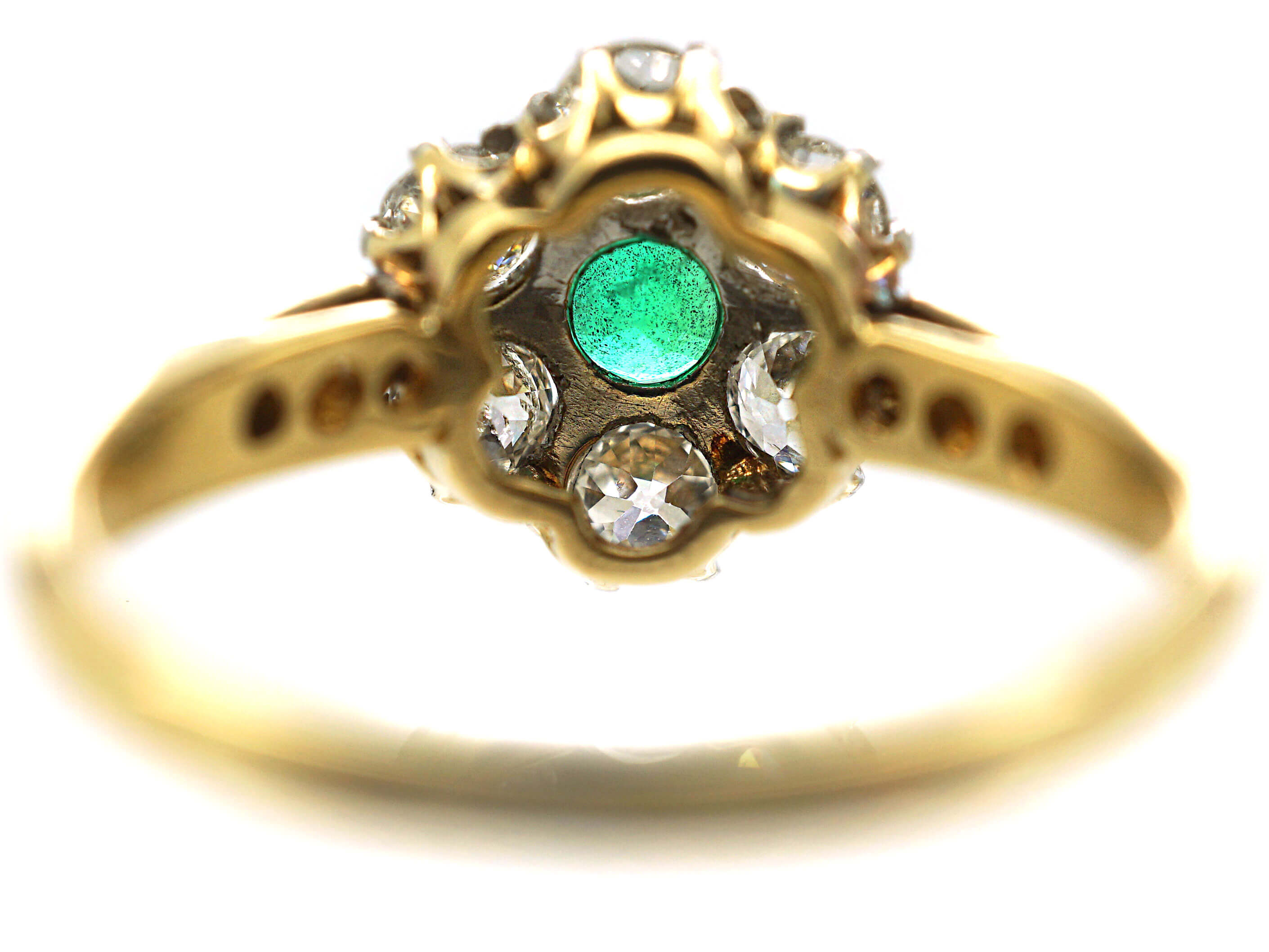 Edwardian 18ct Gold, Emerald & Diamond Cluster Ring with Diamond Set Shoulders