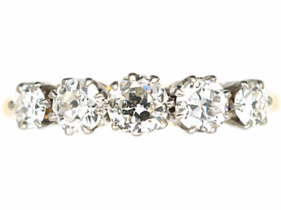 Art Deco 18ct Gold & Platinum Five Stone Diamond Ring