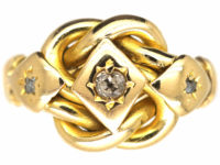 Edwardian 18ct Gold & Diamond Lover's Knot Ring