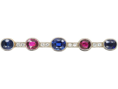Art Deco 15ct Gold & Platinum Brooch set with Natural Sapphires & Rubies