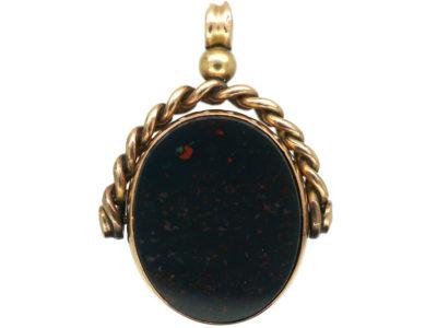 Victorian 9ct Gold Swivel Seal with Bloodstone & Carnelian Base