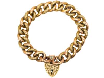 Edwardian 9ct Gold Bracelet with Plain & Decorated Curb Links