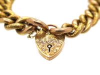 Edwardian 9ct Gold Bracelet with Plain & Decorated Curb Links & Ornate Padlock