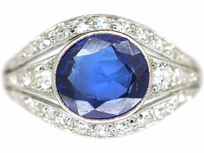 French Art Deco Platinum, Burma Sapphire & Diamond Ring
