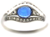 French Art Deco Platinum, Burma Sapphire & Diamond Ring