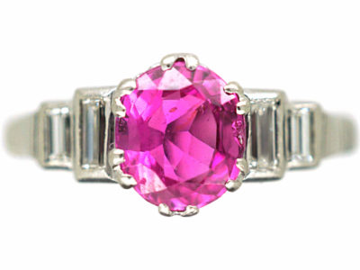 Art Deco 18ct White Gold & Platinum, Pink Sapphire & Diamond Ring