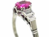 Art Deco 18ct White Gold & Platinum, Pink Sapphire & Diamond Ring