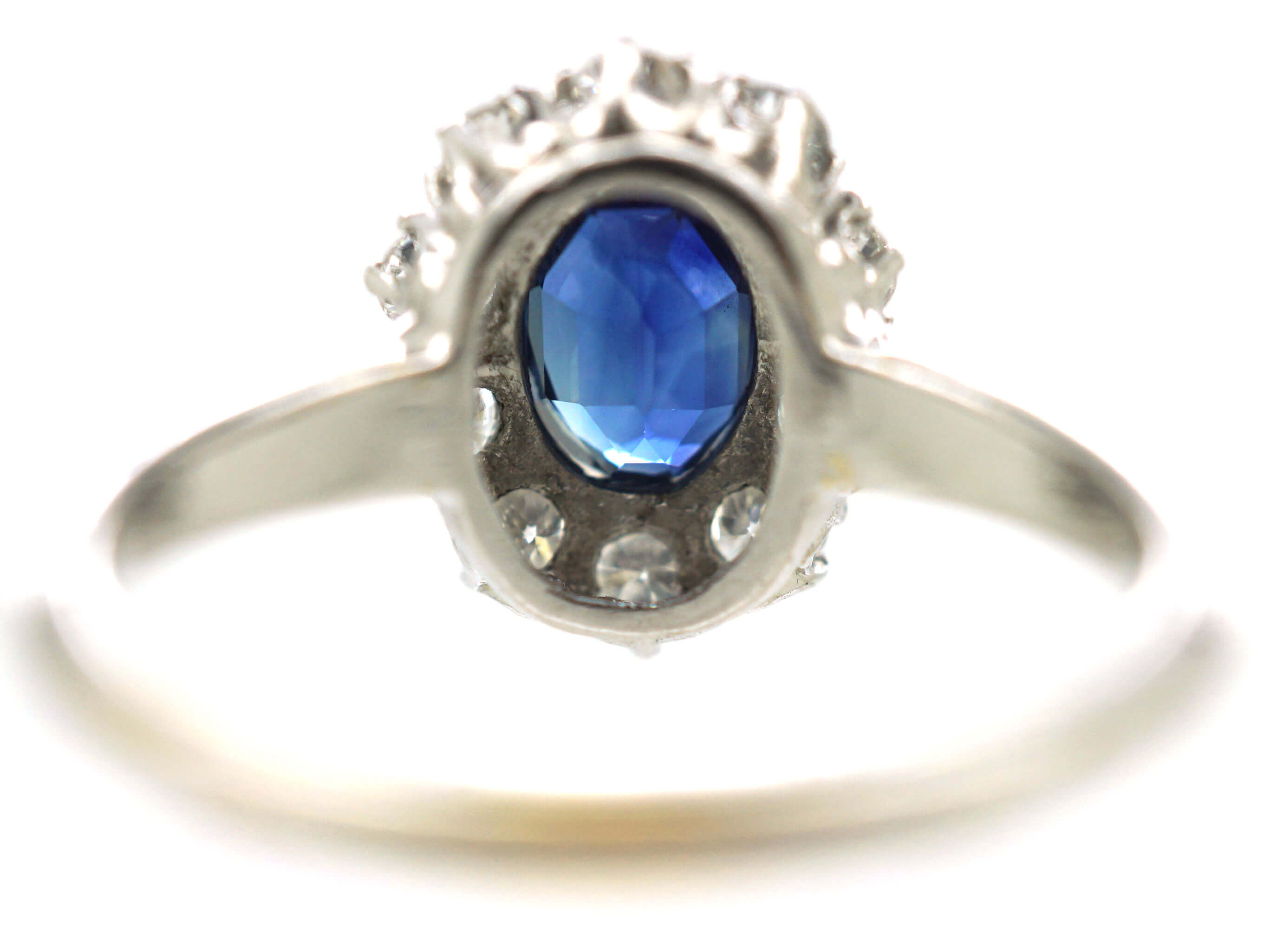 18ct White Gold & Platinum, Sapphire & Diamond Oval Cluster Ring