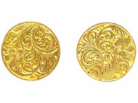 Victorian 15ct Gold Round Engraved Earrings