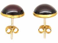 Victorian 15ct Gold Cabochon Garnet Round Earrings