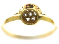 Art Deco 18ct Gold & Platinum, Ruby & Diamond Target Ring