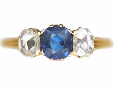 Edwardian 14ct Gold Rose Diamond & Sapphire Three Stone Ring