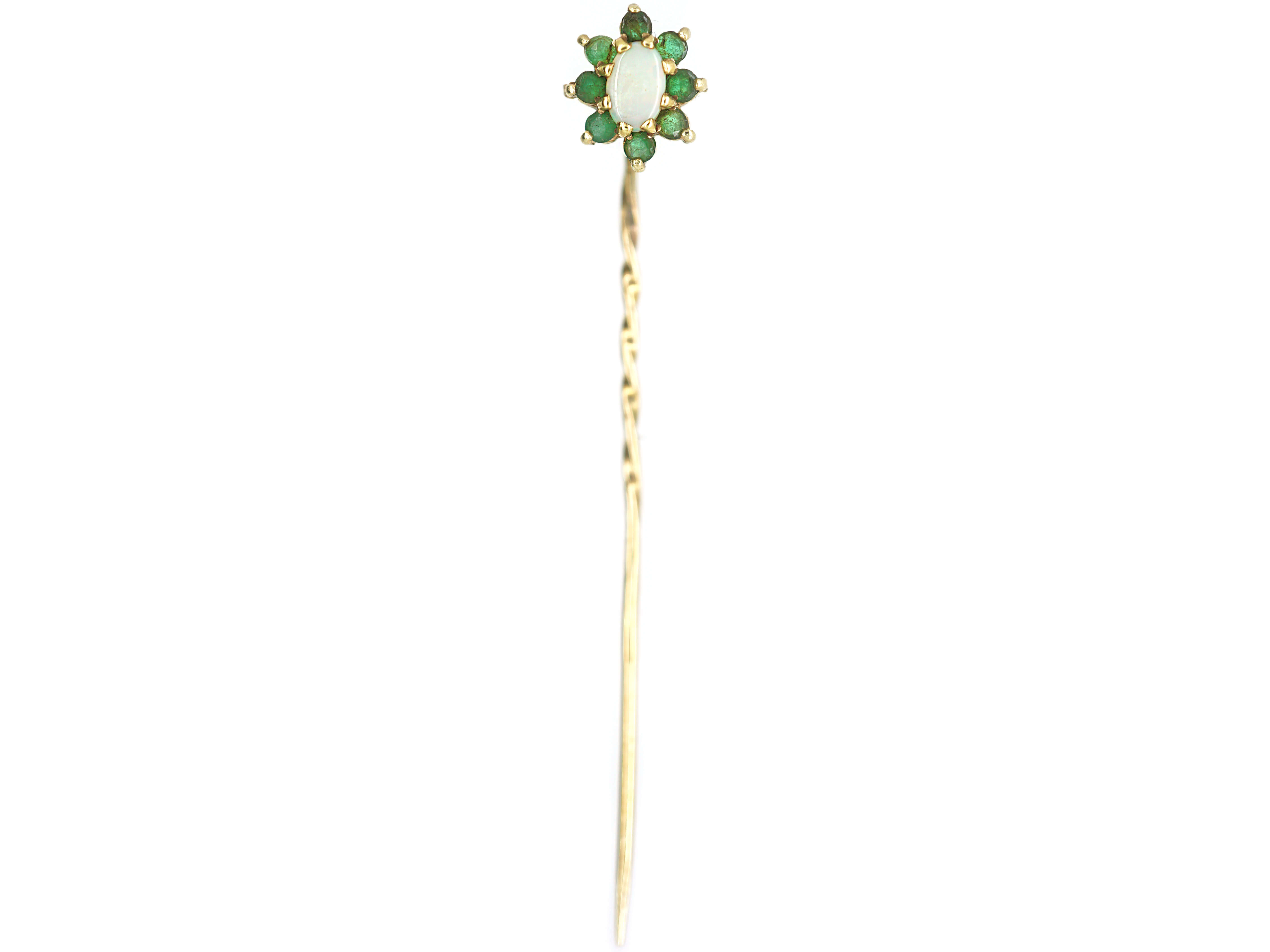 15ct Gold Emerald & Opal Tie Pin