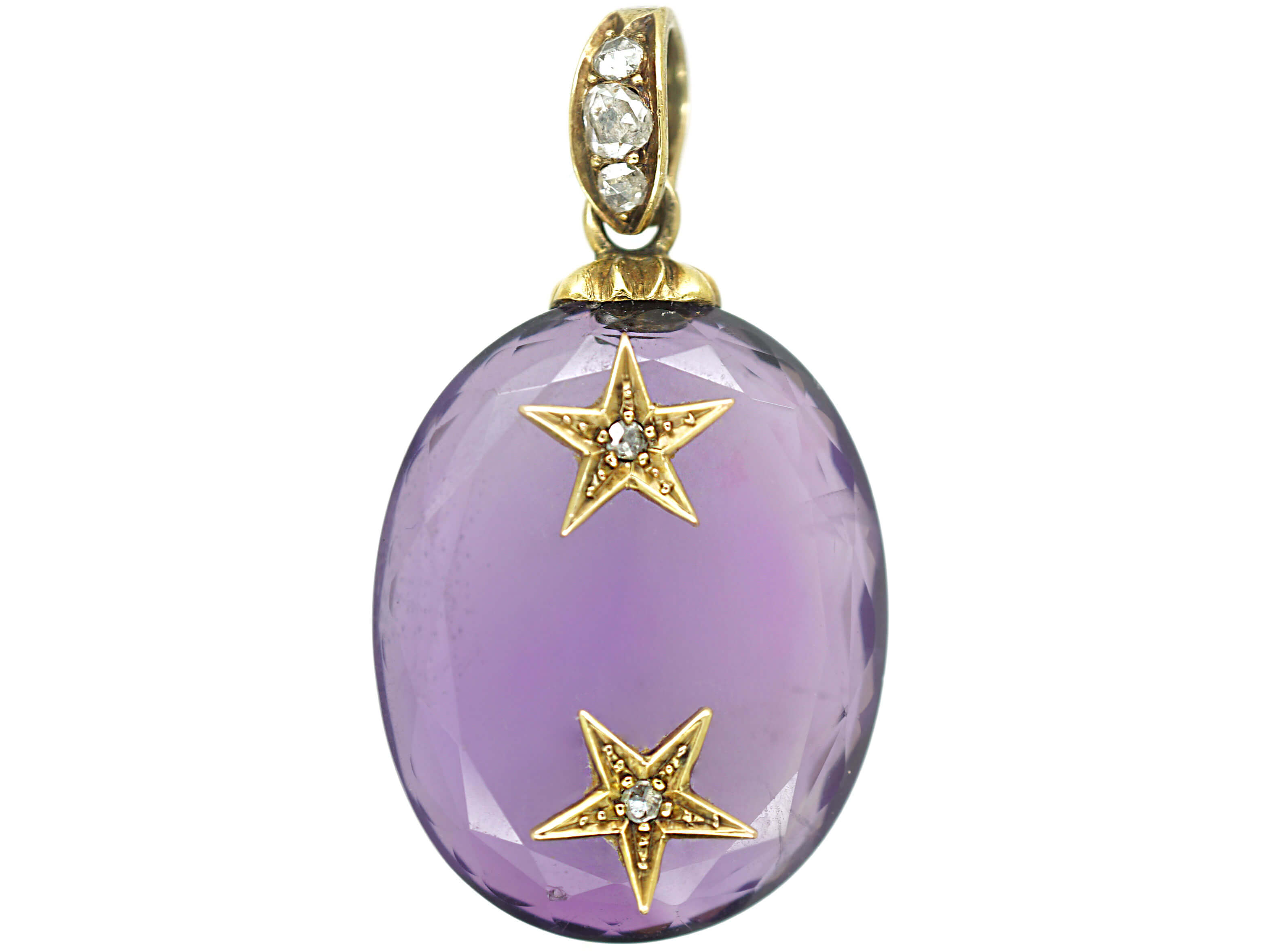 Victorian Oval Amethyst Pendant set with Two Rose Diamond Stars with Diamond Set Bale