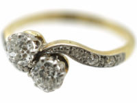 Edwardian 18ct Gold & Platinum Two Stone Diamond Crossover Ring with Diamond Set Shoulders