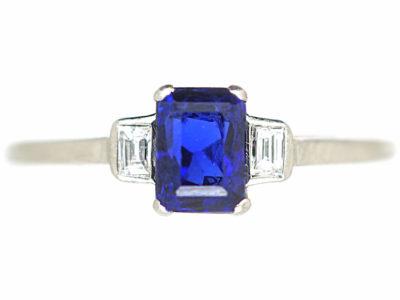 Art Deco Sapphire & Diamond Three Stone Ring