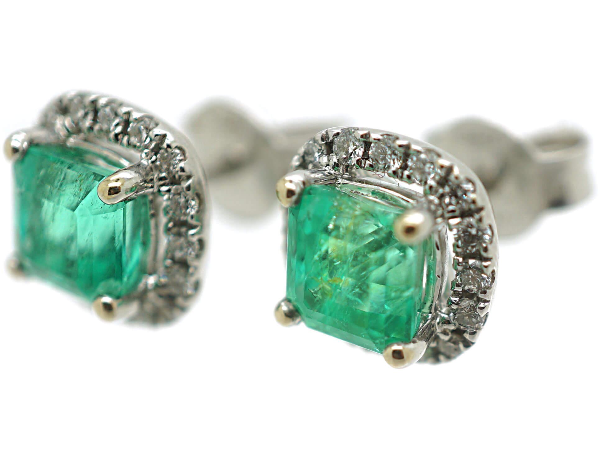 18ct White Gold Emerald & Diamond Earrings