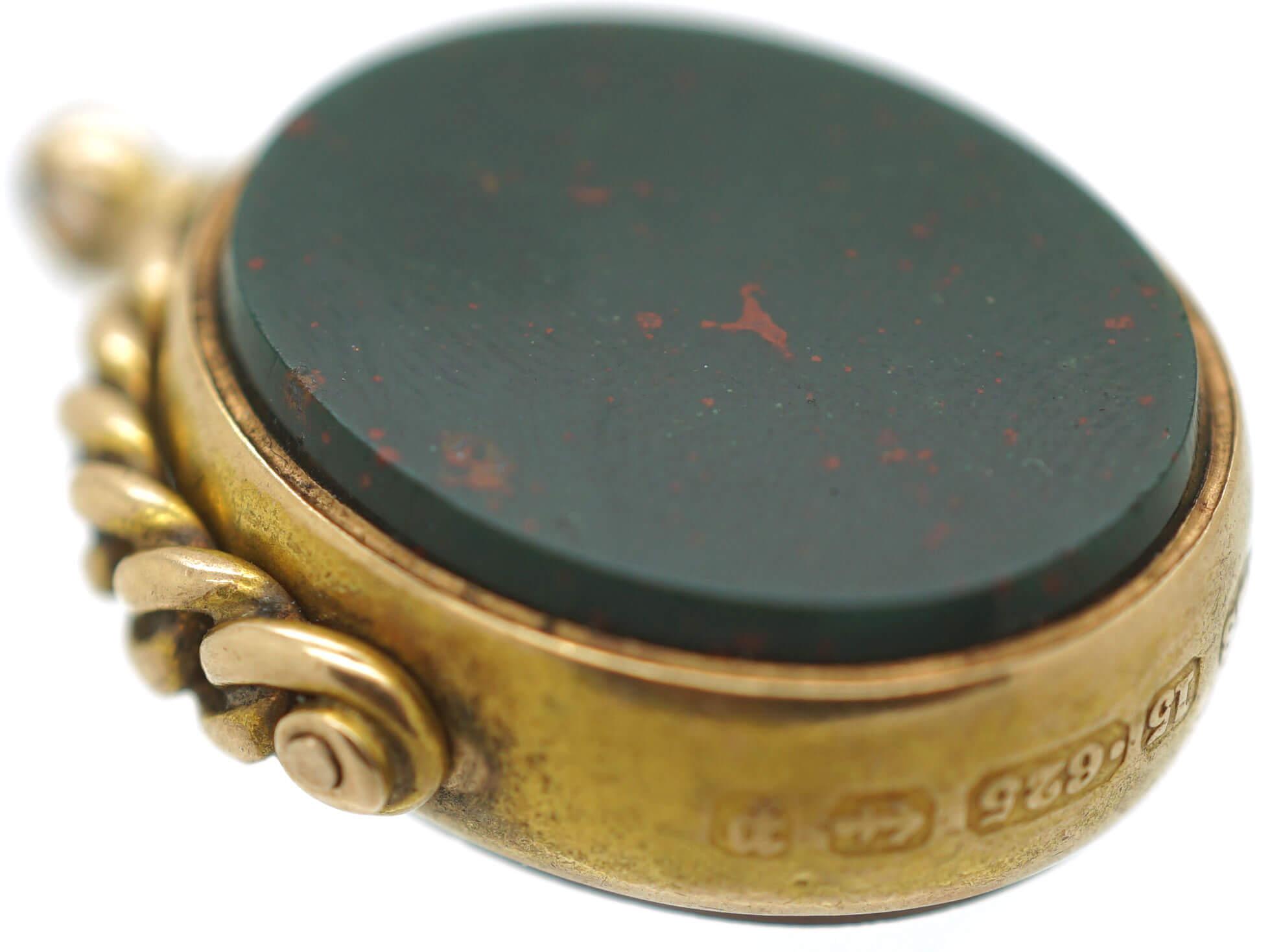 Victorian 15ct Gold Carnelian & Bloodstone Swivel Seal