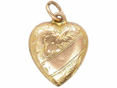 Edwardian 9ct Gold Heart Shaped Pendant