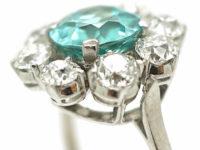 18ct White Gold, Zircon & Diamond Cluster Ring
