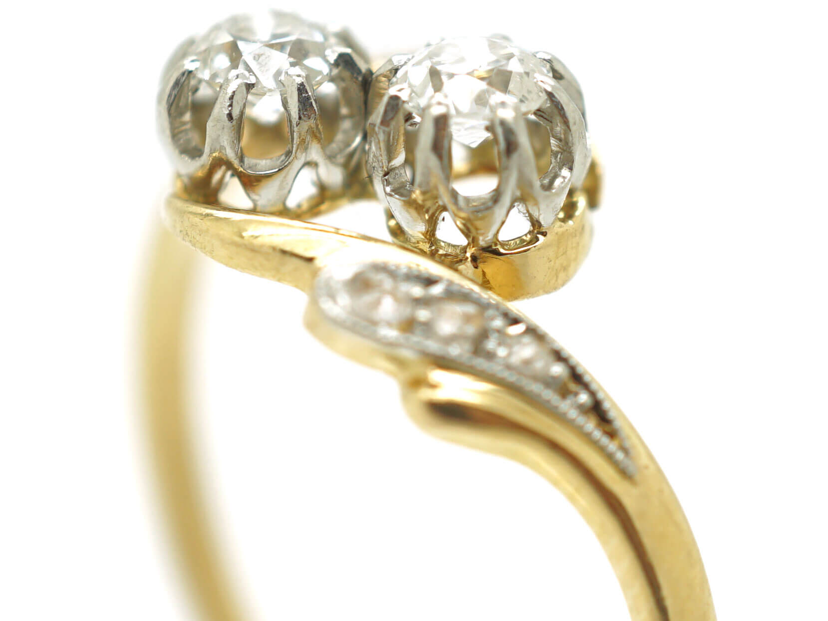 French 18ct Gold Two Stone Diamond Twist Ring with Diamond Set Shoulders