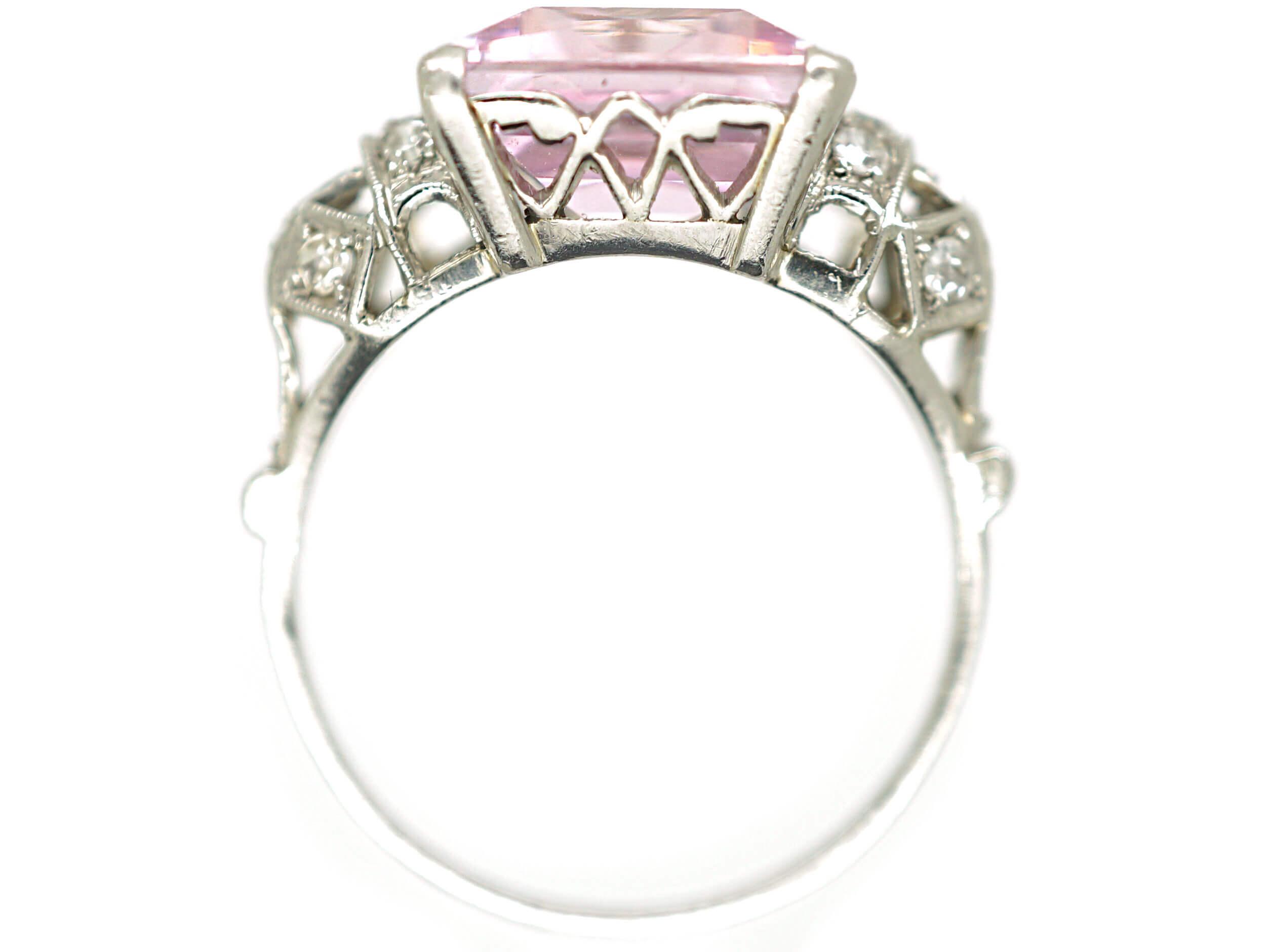 Art Deco Platinum & Rose de France Rectangular Amethyst Ring