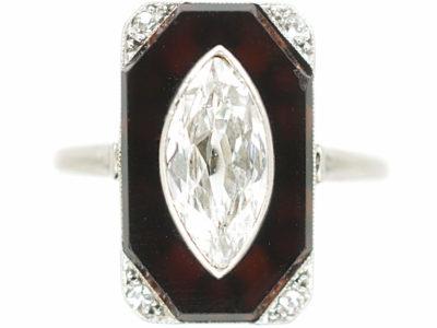Art Deco Platinum Onyx & Marquise Diamond Rectangular Shaped Ring
