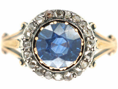 Edwardian 18ct Gold, Sapphire & Rose Diamond Cluster Ring