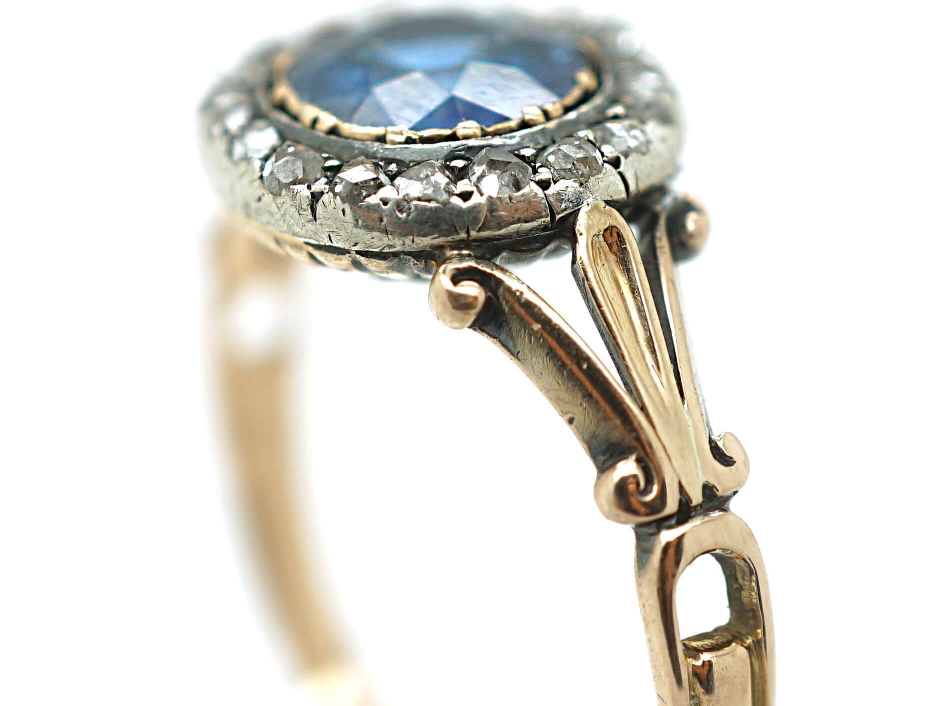 Edwardian 18ct Gold, Sapphire & Rose Diamond Cluster Ring