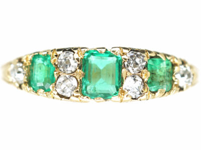 Victorian 18ct Gold Three Stone Emerald & Diamond Carved Half Hoop Ring