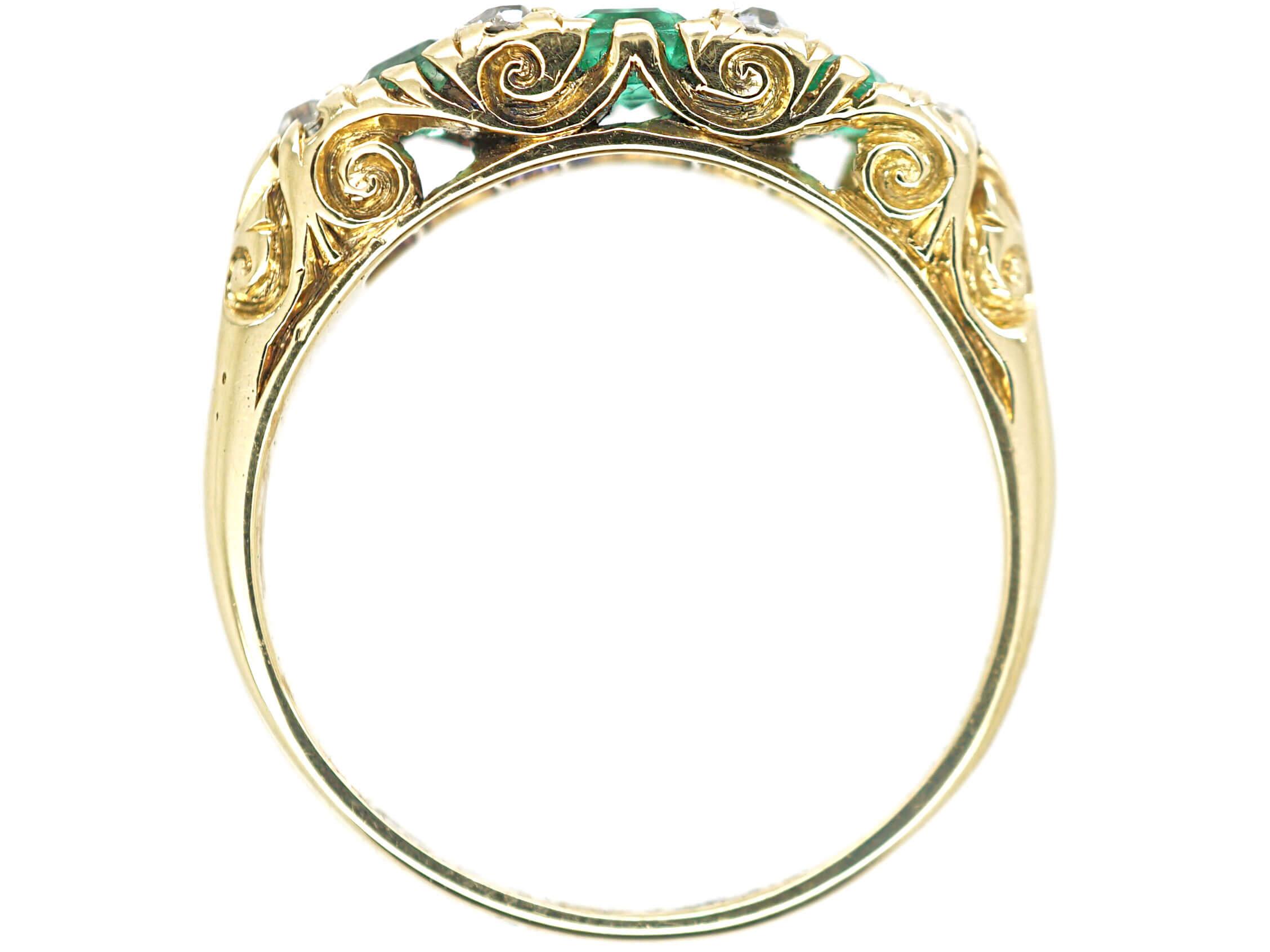 Victorian 18ct Gold Three Stone Emerald & Diamond Carved Half Hoop Ring