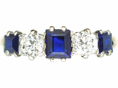 Edwardian 18ct Gold, Sapphire & Diamond Five Stone Ring