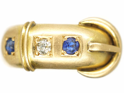 Edwardian 18ct Gold, Sapphire & Diamond Buckle Ring