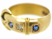 Edwardian 18ct Gold, Sapphire & Diamond Buckle Ring