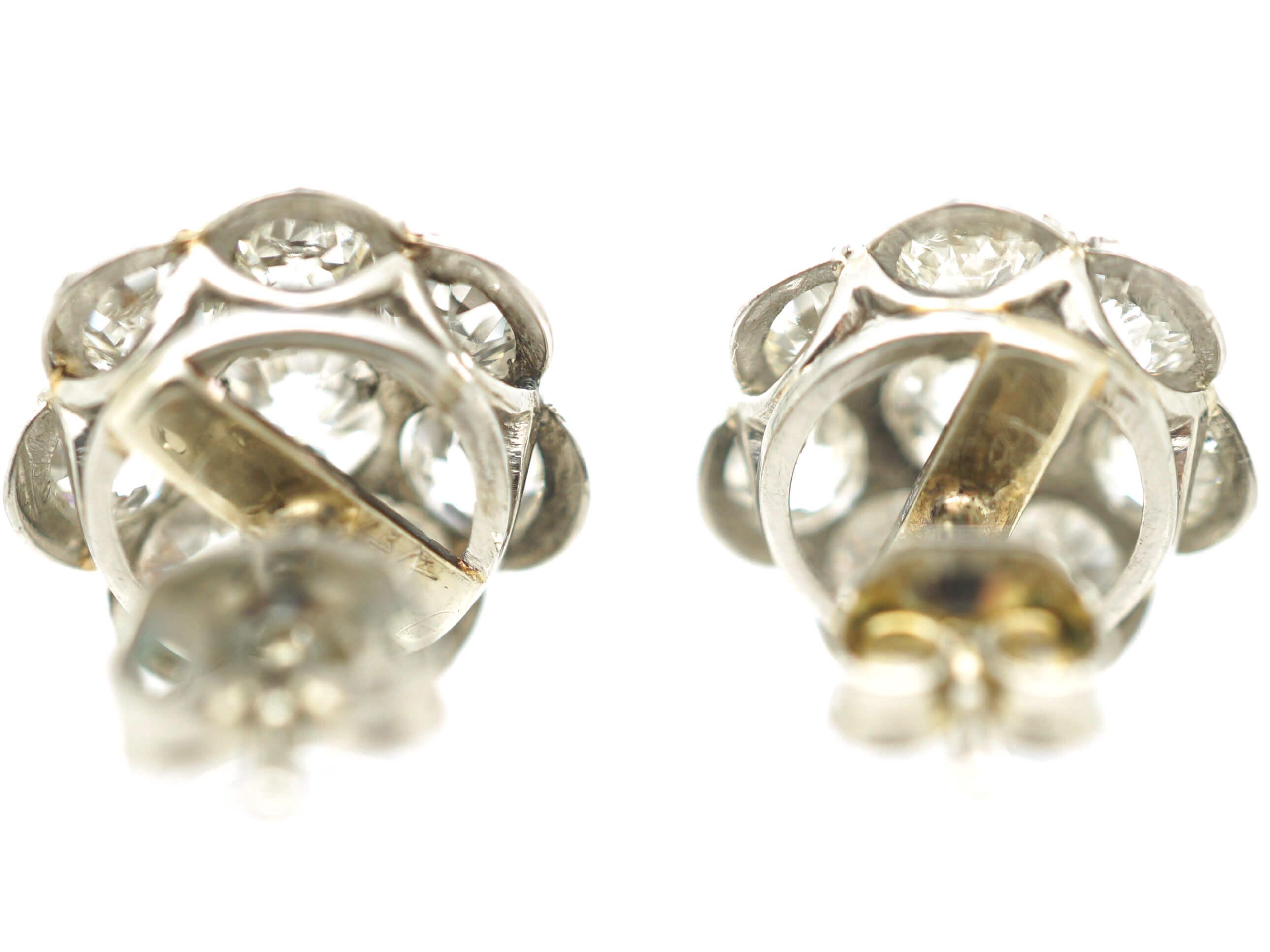 18ct White Gold Diamond Cluster Earrings