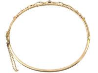Edwardian 9ct Gold Ruby & Diamond Bangle
