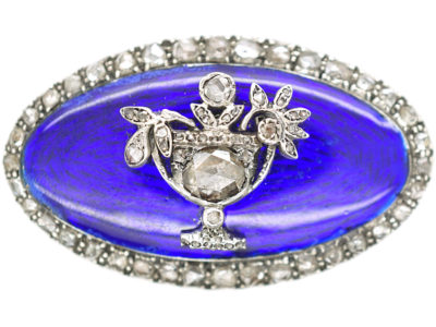 Georgian Rose Diamond & Blue Enamel Brooch